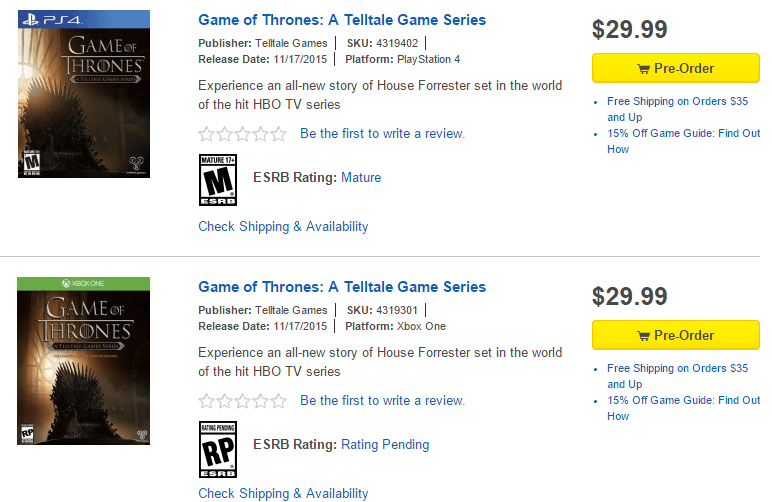Game of Thrones Retail Xbox One Ps4