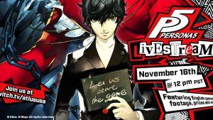 Persona 5 live streaming 16 novembre