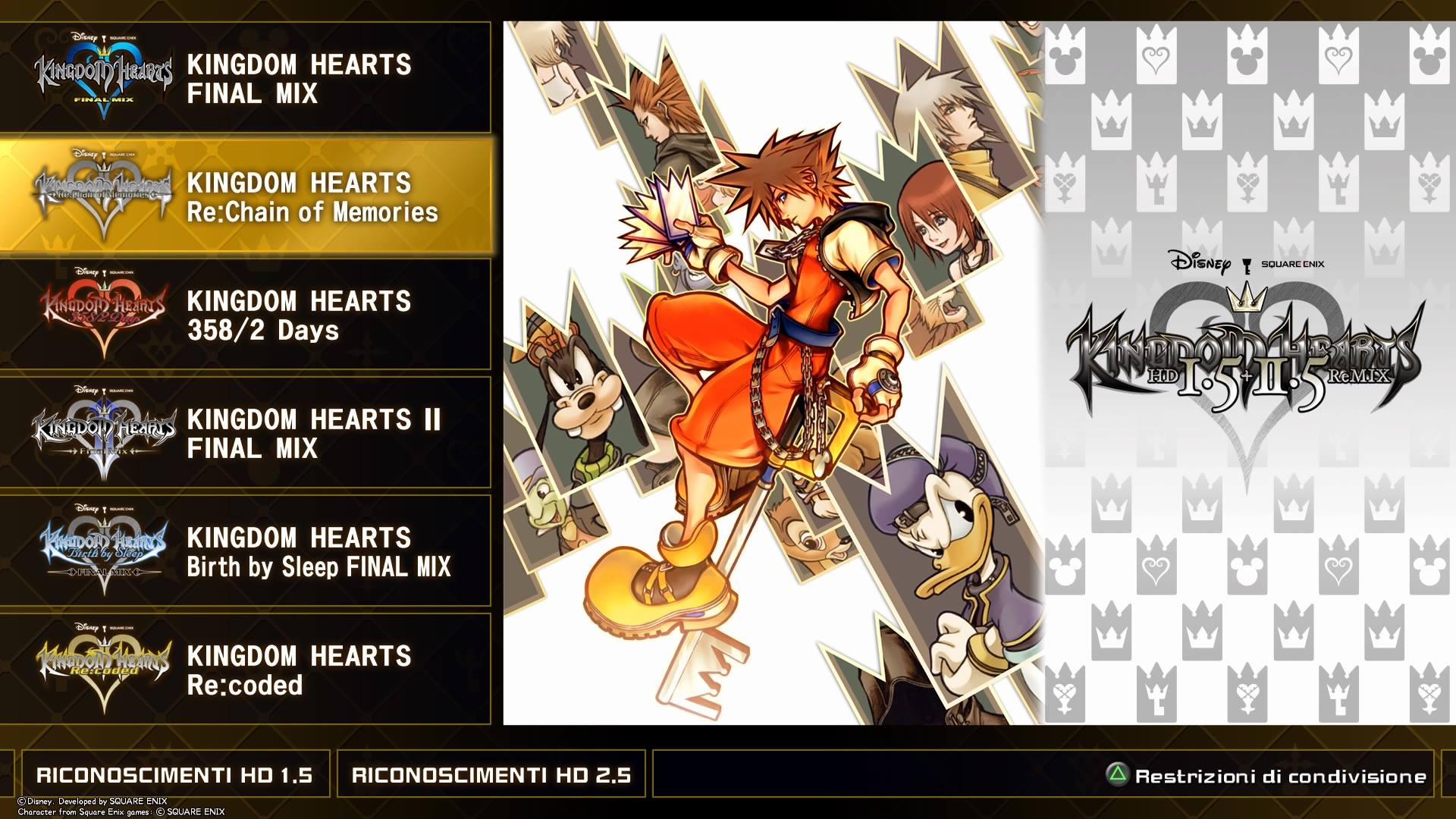 Kingdom Hearts HD 1.5 + 2.5 Remix title screen