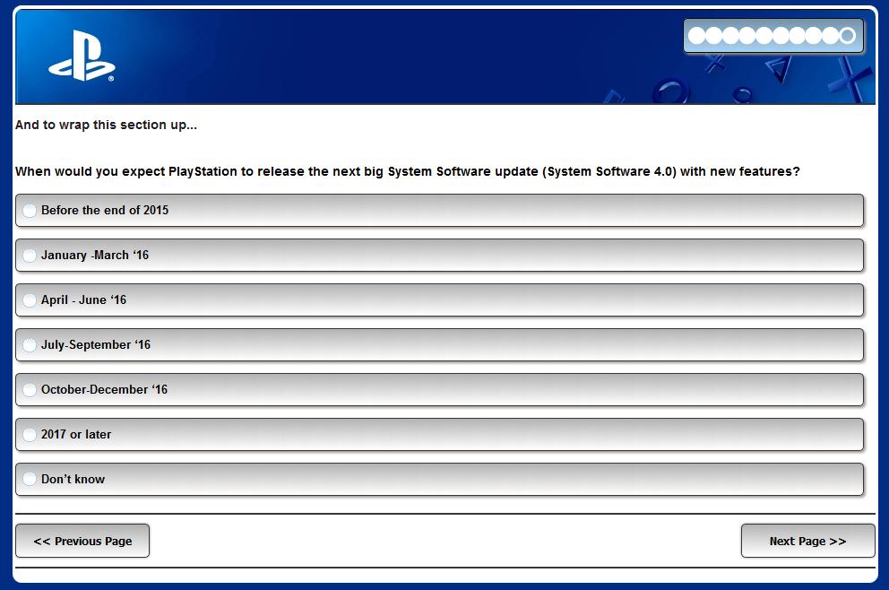 Sony Sondaggio PS4 aggiornamento 4.0