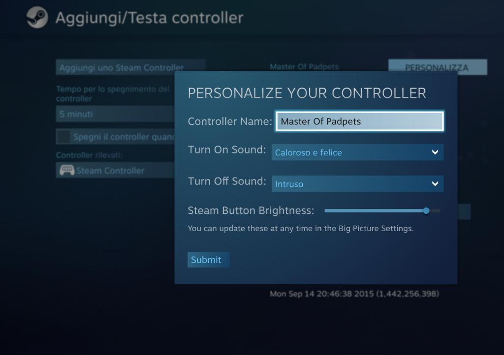Il menù di personalizzazione dello Steam Controller
