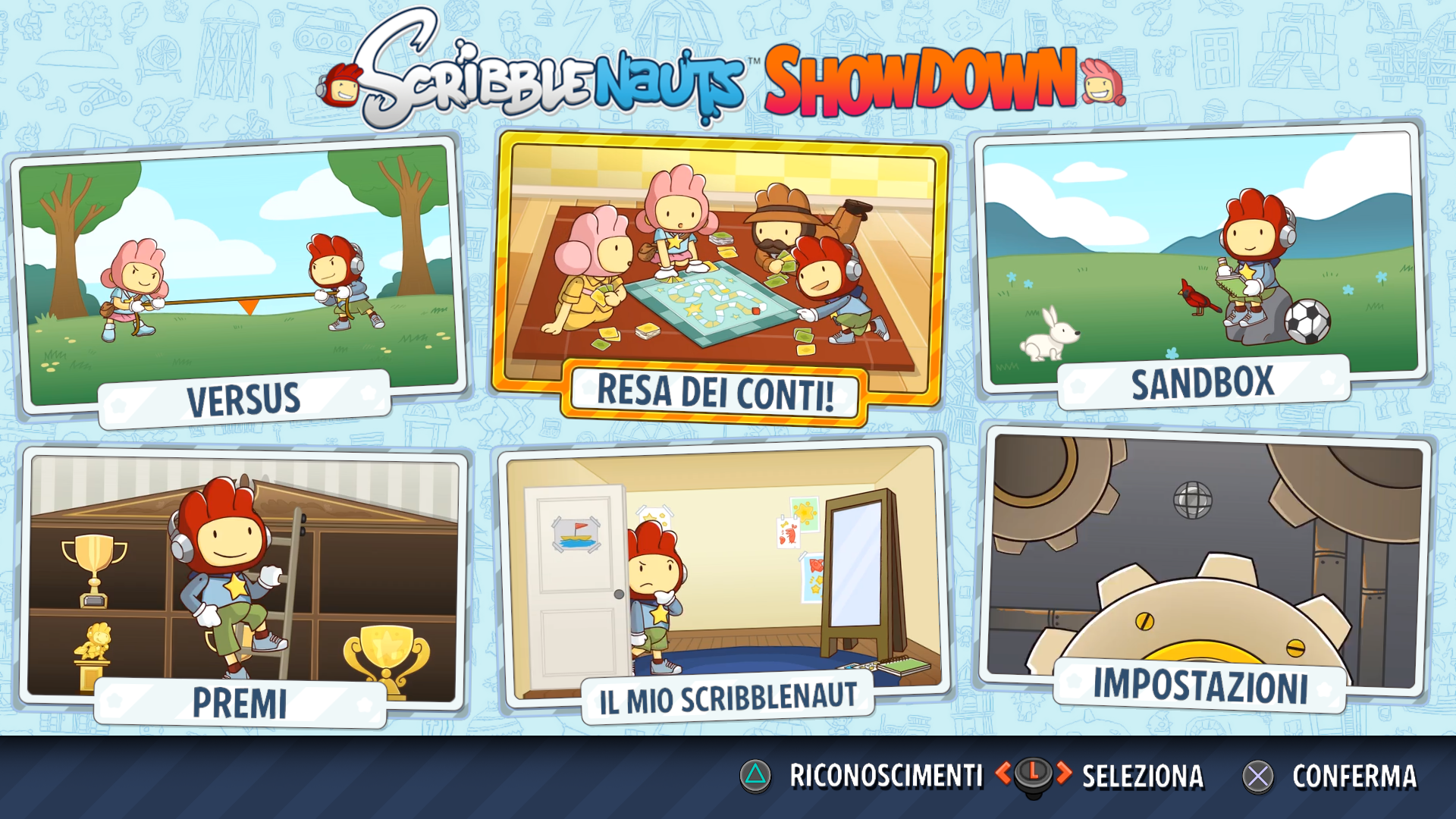 Scribblenauts showdown menù