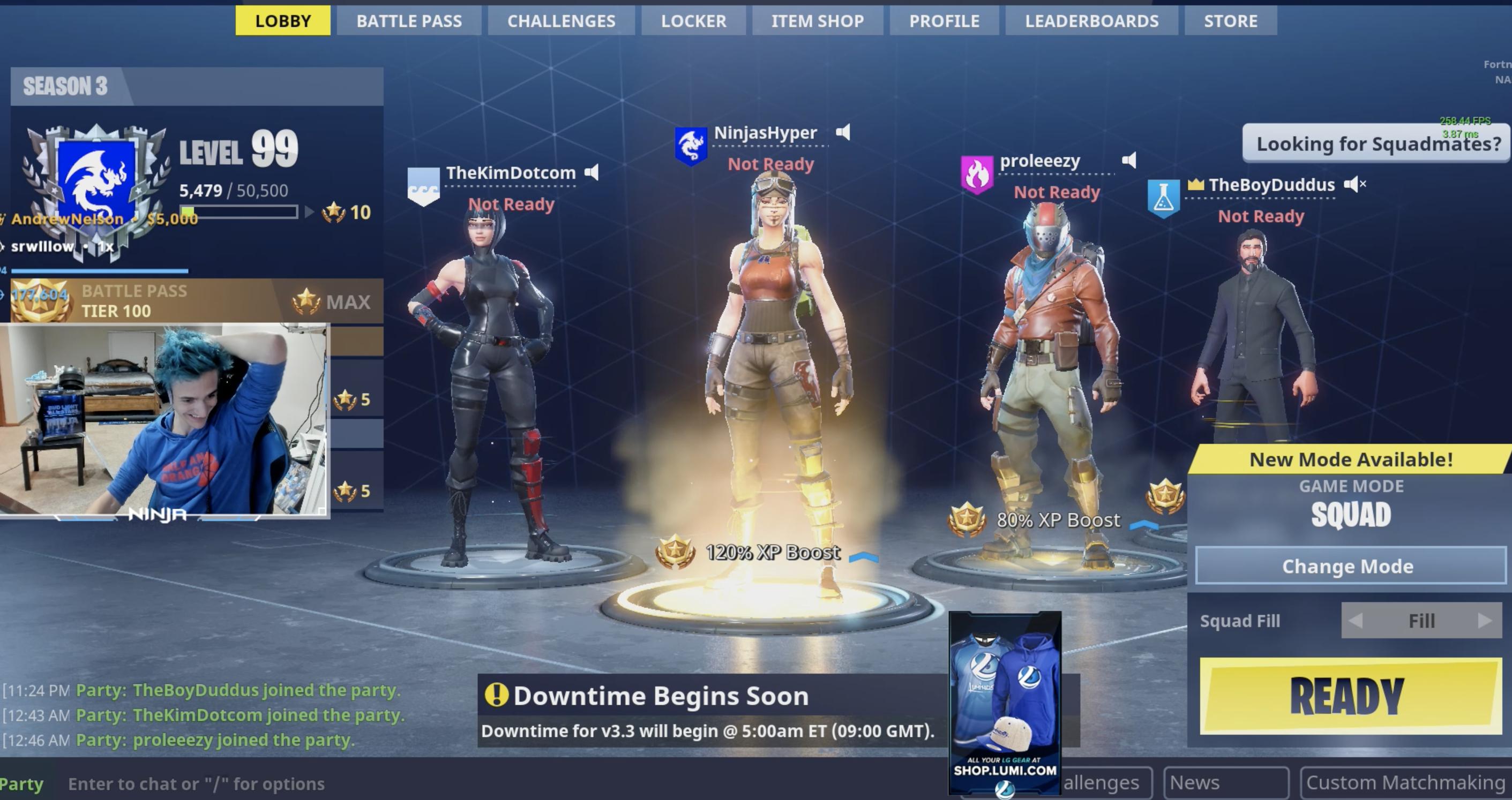 Schermata di lobby di Fortnite durante una partita dello streamer Ninja.
