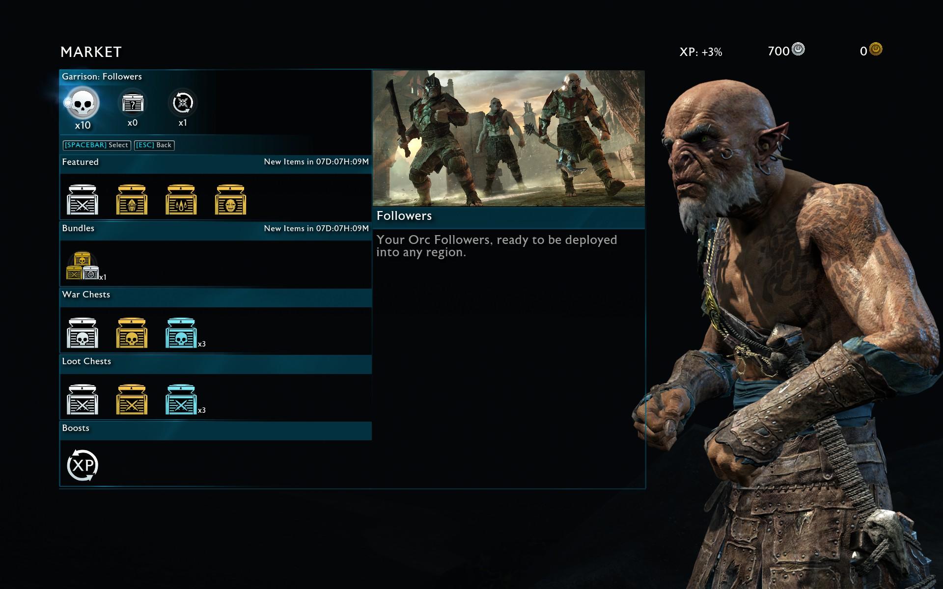 Schermata del Market in La Terra di Mezza: l'Ombra della Guerra.