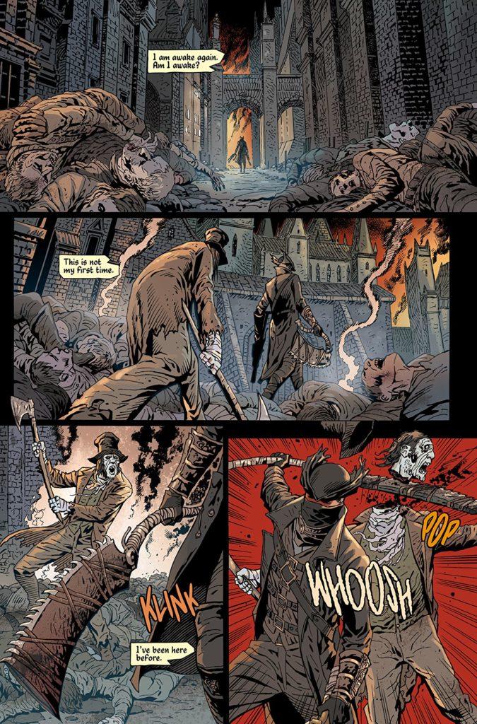 Una vignetta del fumetto Bloodborne: Il Sogno del Cacciatore.