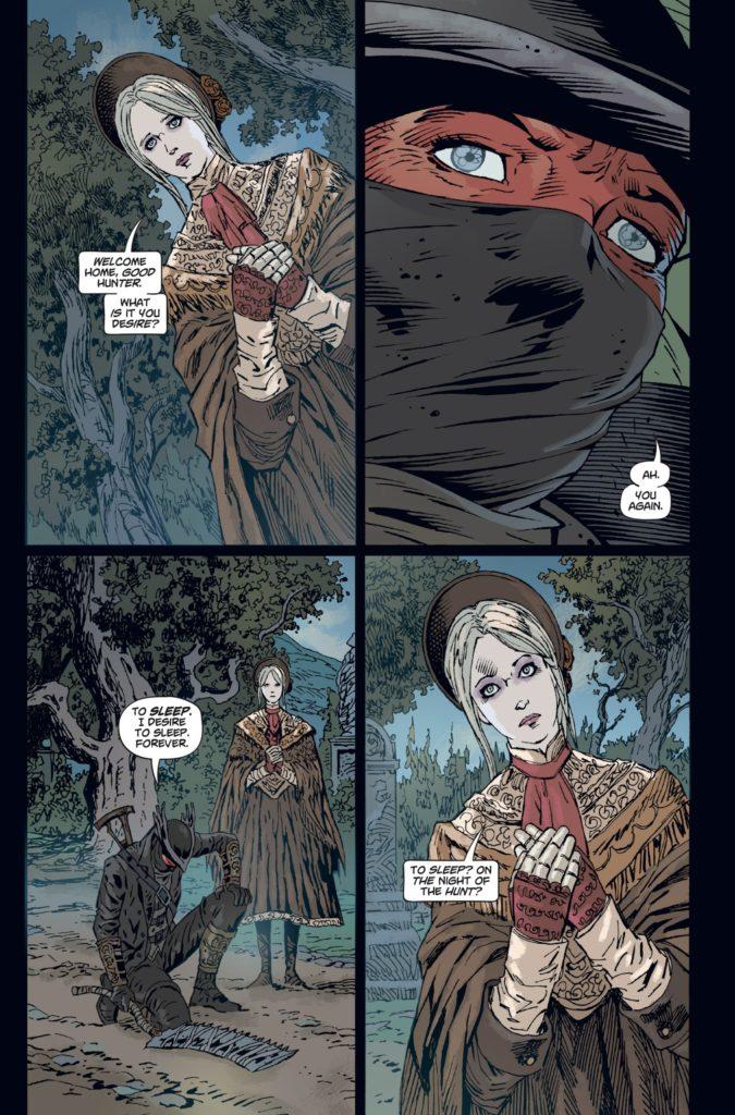Una vignetta del fumetto Bloodborne: Il Sogno della Morte.