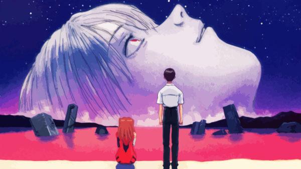 Una scena del finale di The End of Evangelion in cui Asuka e Shinji guardano un viso che esce fuori da un mare rosso