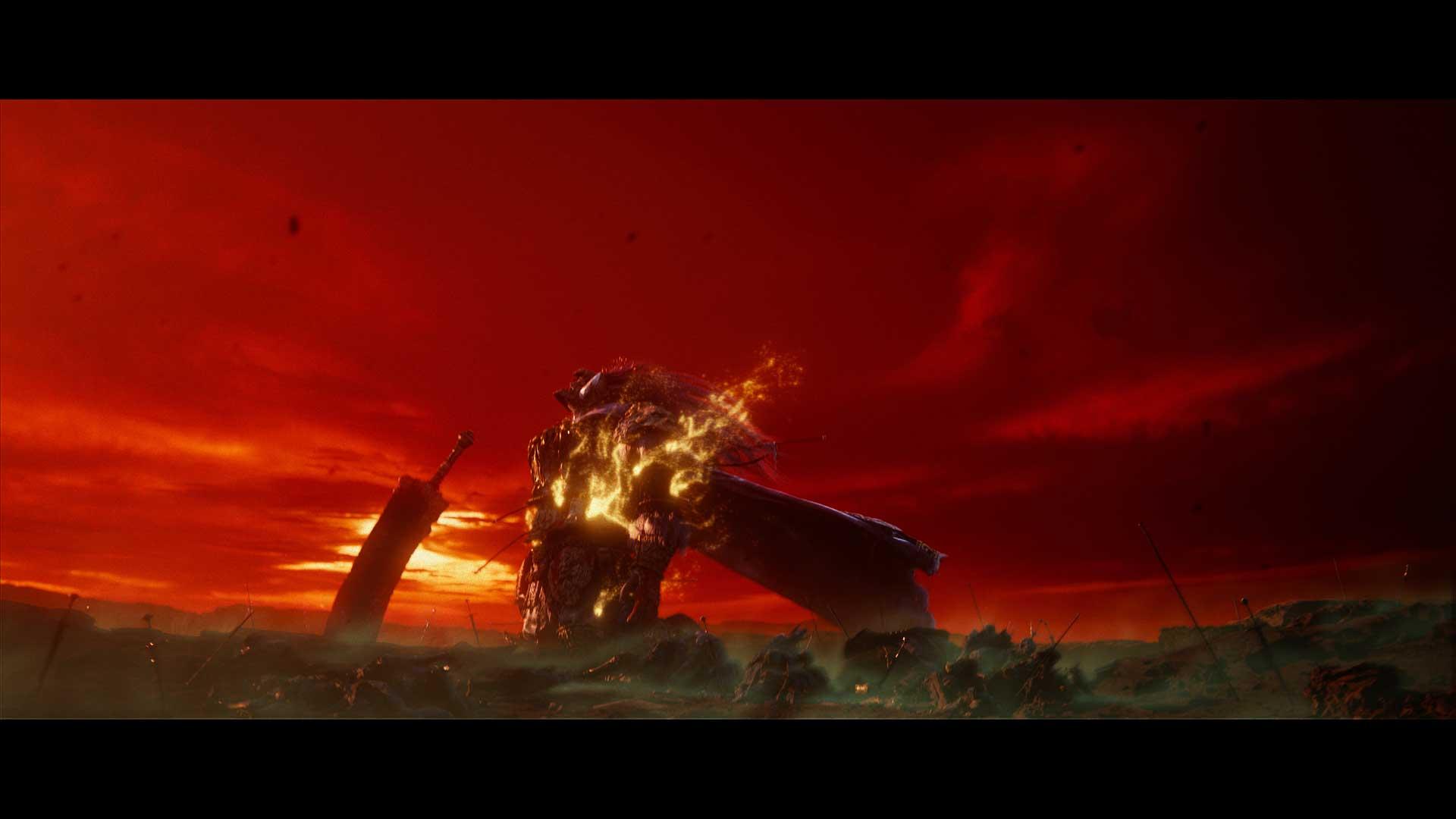 Scena del guerriero che brucia nel teaser di Elden Ring