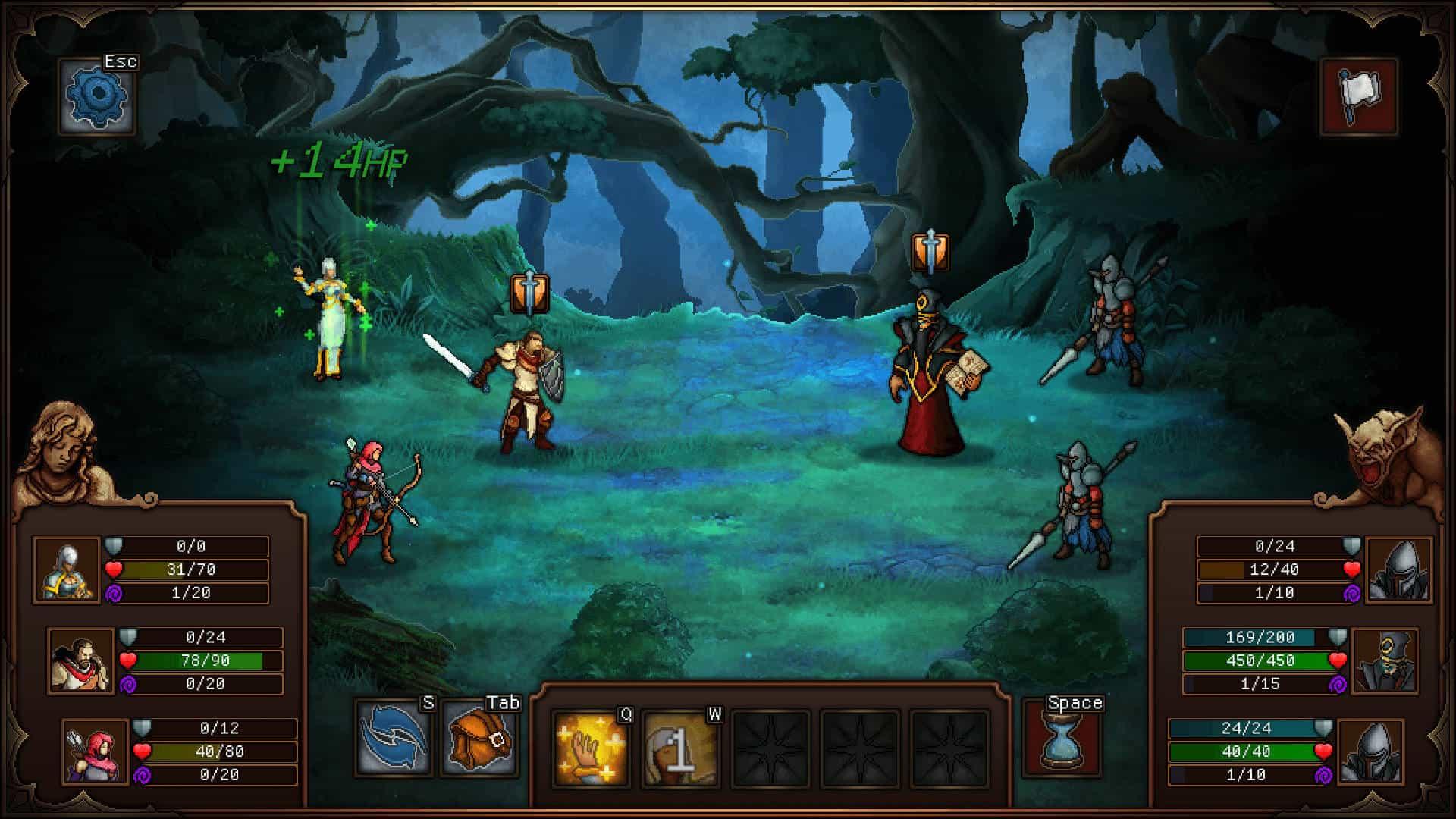 Fase di combattimento di Sin Slayers, con schieramento a tre eroi.