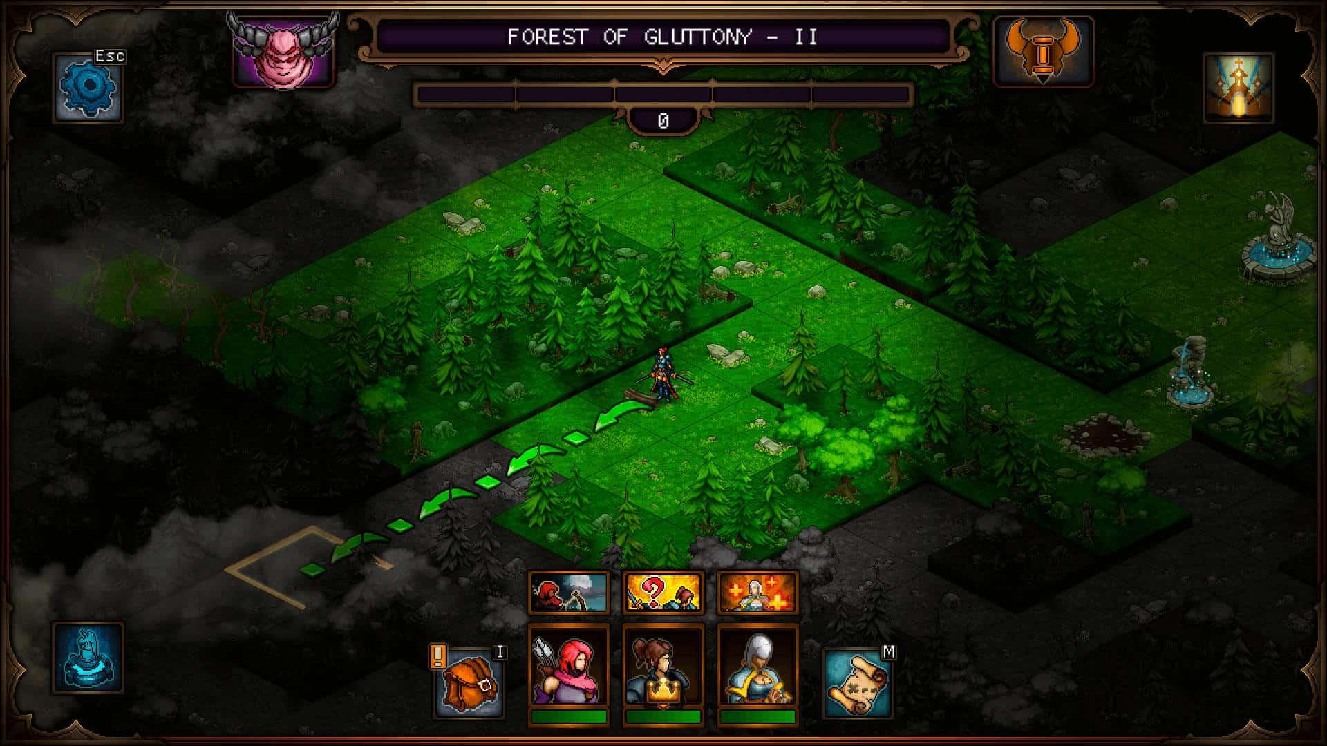 Mappa di gioco dell'area Forest of Gluttony, una delle sotto aree di Sin Slayers.
