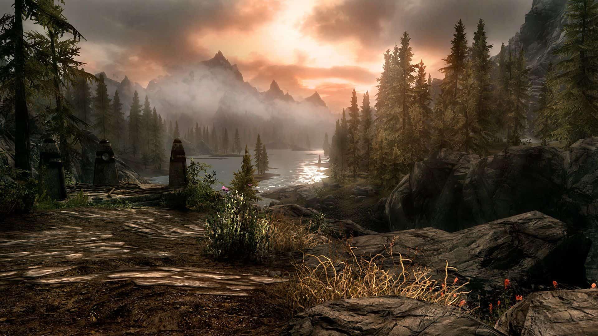 Paesaggio montano di Skyrim