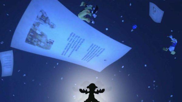 foglio che svolazza nel vuoto con un filtro blu notte e personaggi Disney