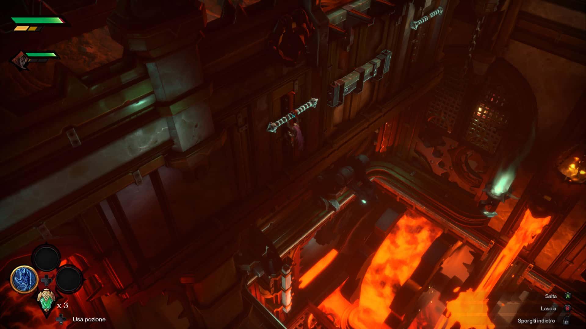 Sezione di platforming in Darksiders Genesis con Conflitto