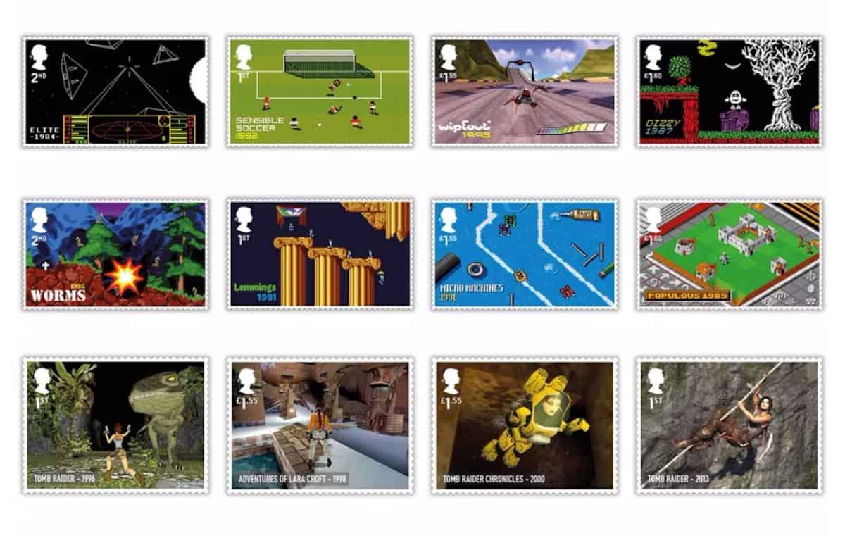 Alcuni dei francobolli dedicati ai videogiochi rilasciati da Royal Mail