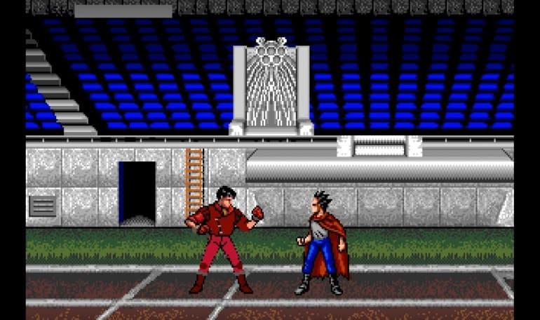 Lo scontro finale del videogioco di Akira: Kaneda e Tetsuo si fronteggiano nello stadio delle olimpiadi