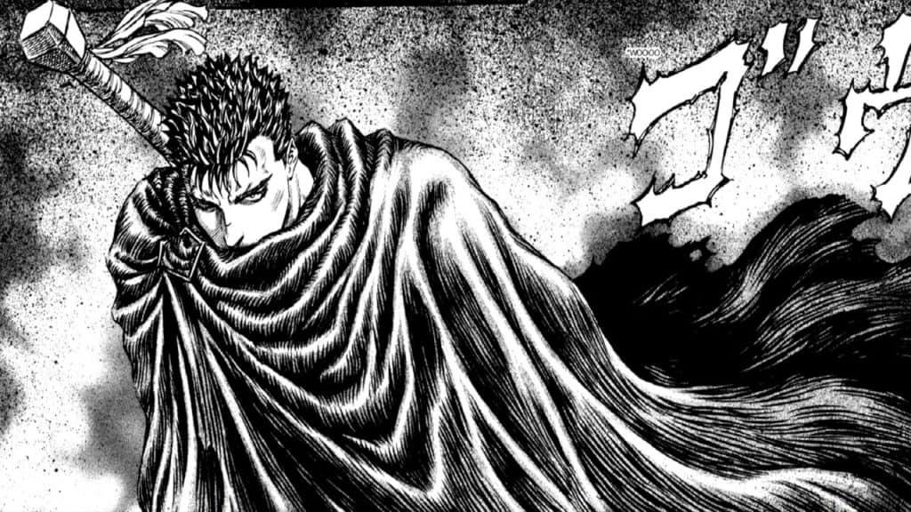 Gatsu nel manga di Berserk con la sua aura minacciosa