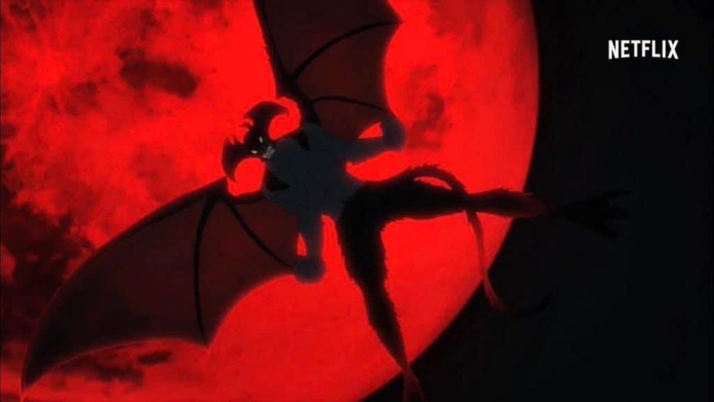 Devilman che plana nel cielo con dietro la Luna rossa