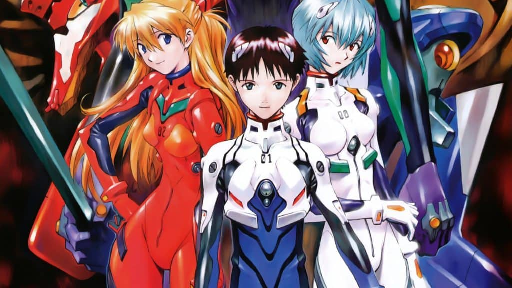 Shinji, Asuka e Rei con dietro i rispettivi Eva