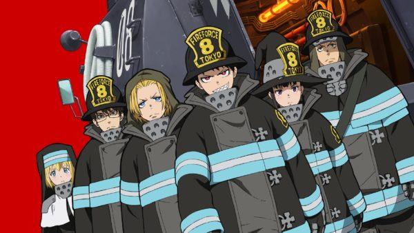 La squadra della Fire Force è in posizione, con dietro uno sfondo rosso fiamma