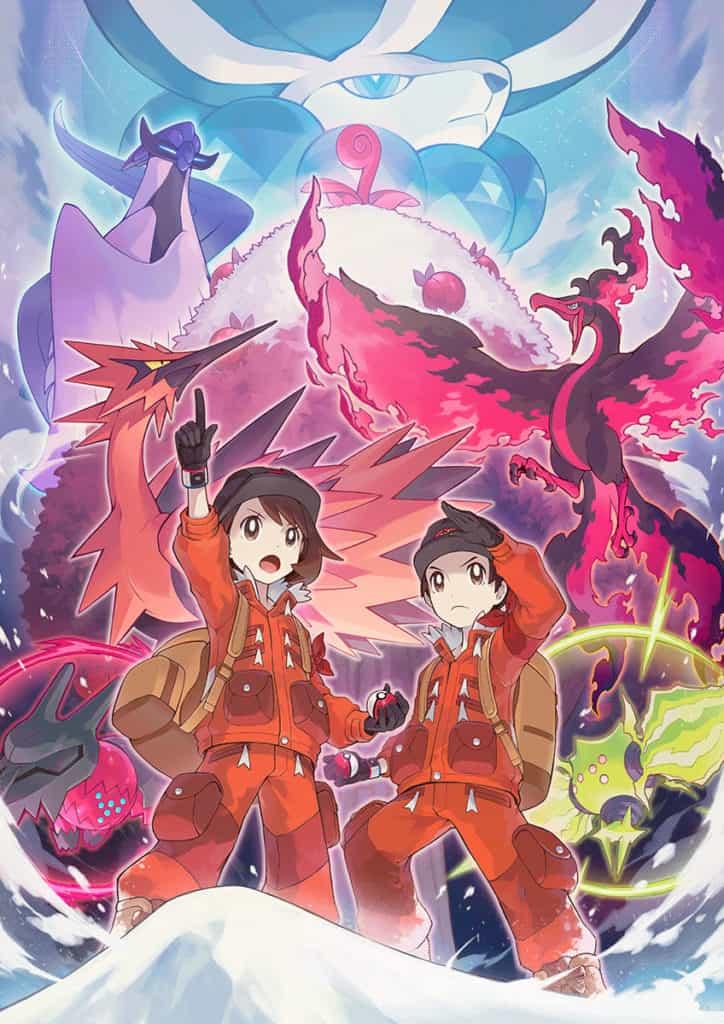 Due allenatori di Pokémon con dietro i 3 uccelli leggendari e Calirex