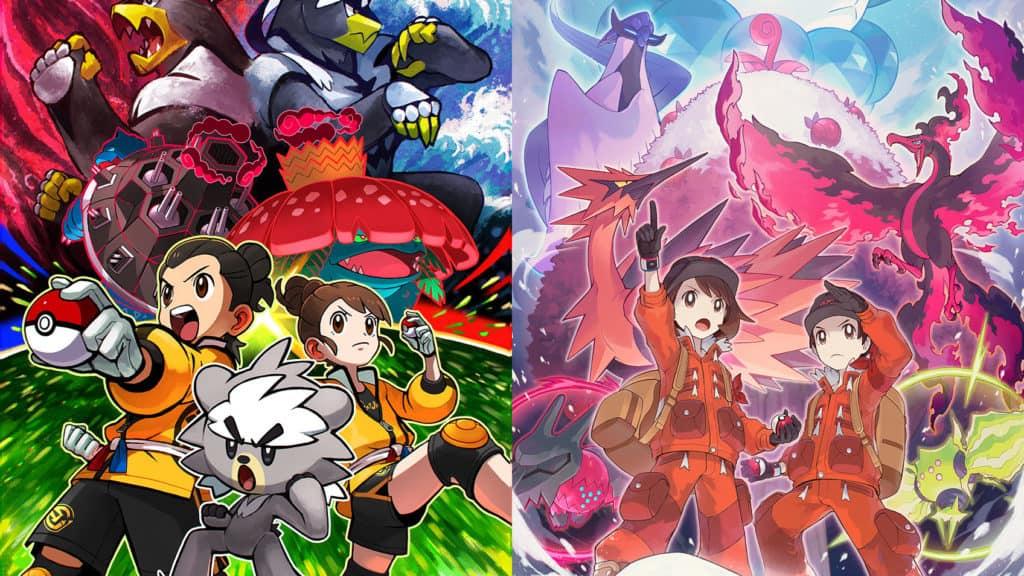Due artwork promozionali per le due espansioni di Pokémon Spada e Scudo
