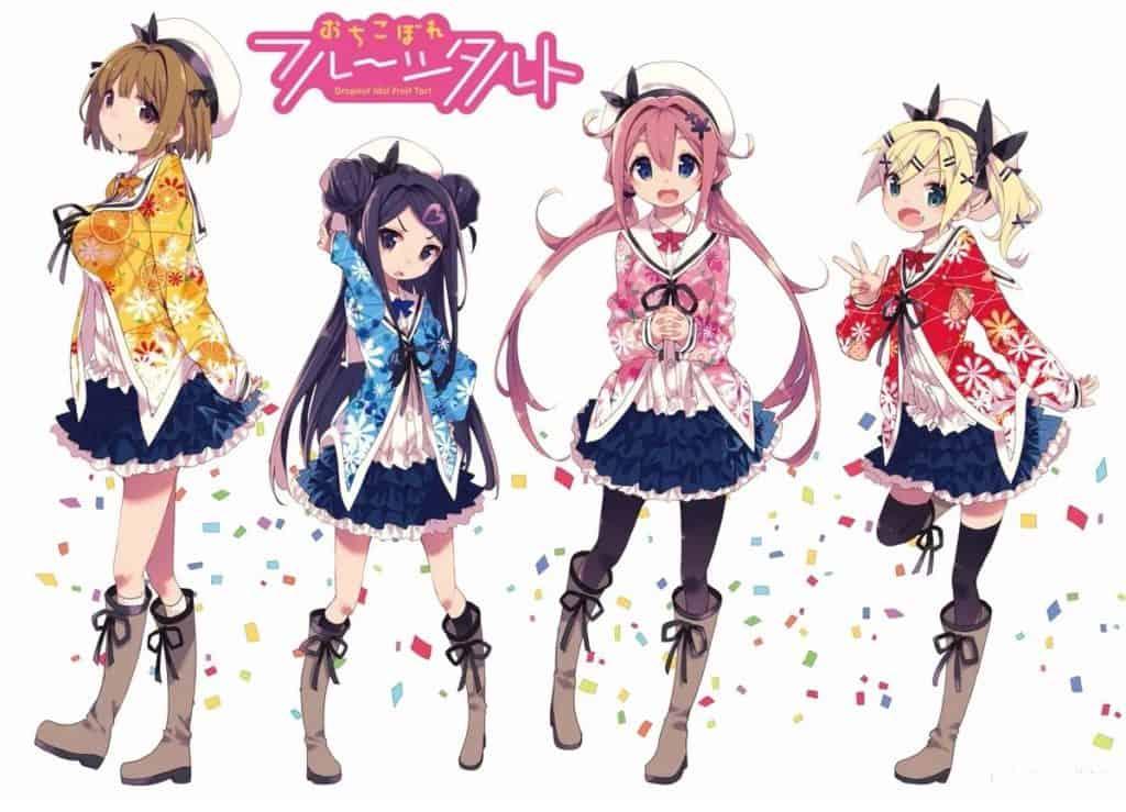 Ochikobore Fruit Tart e le sue quattro protagoniste, un gruppo di idol