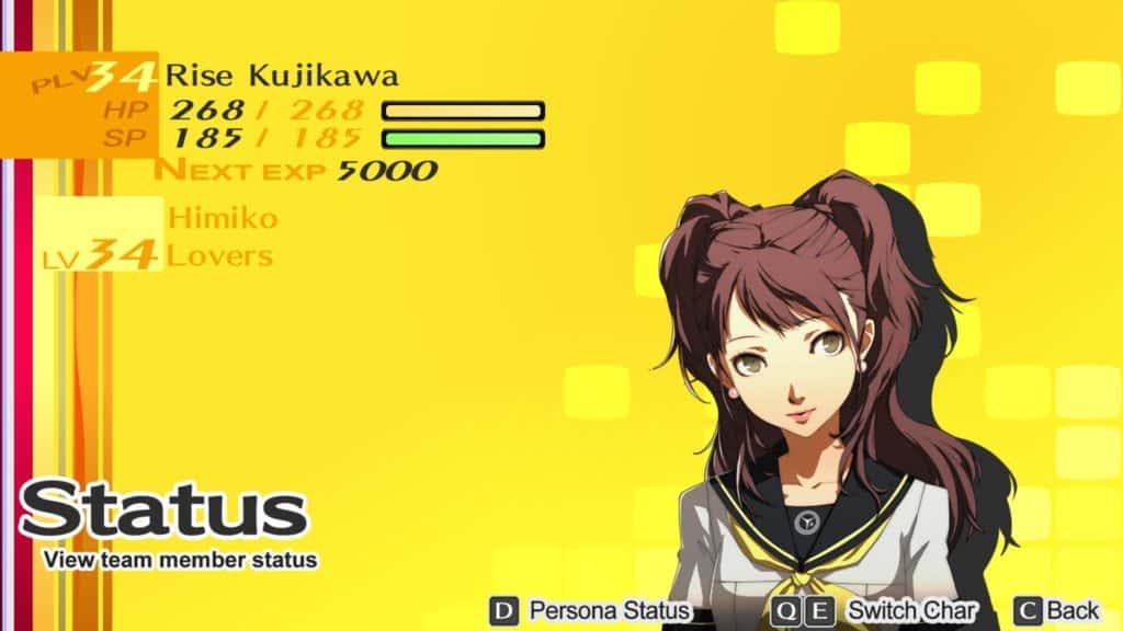 La schermata status di Rise Kujikawa