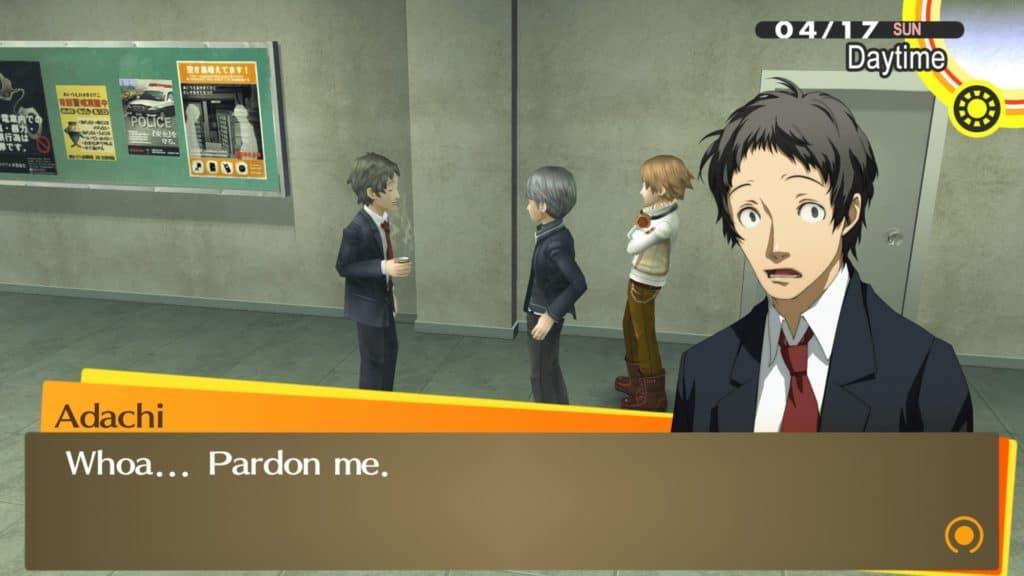Yu e Yosuke che parlano con Adachi con in mano un caffè