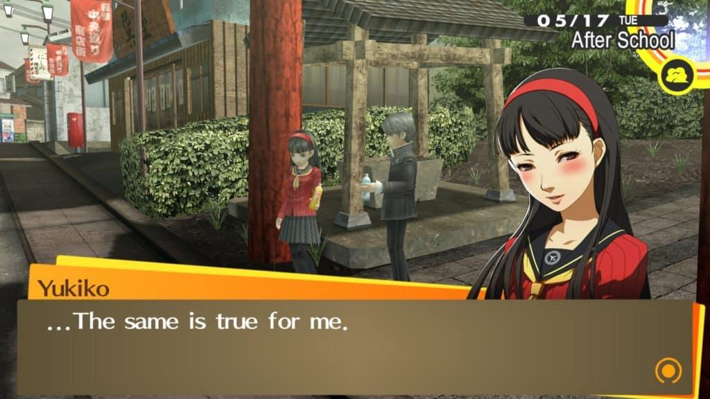 Yukiko parla con il protagonista mentre è in leggero imbarazzo