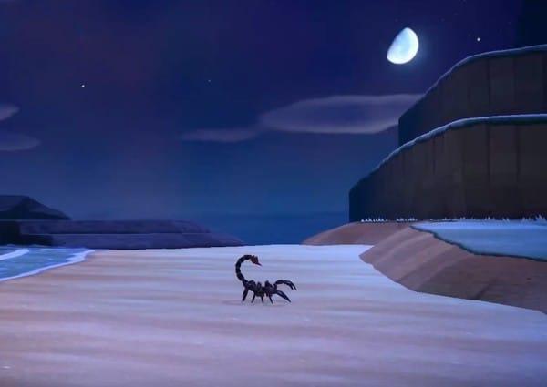 Uno scorpione sulla spiaggia di un'isola di Animal Crossing
