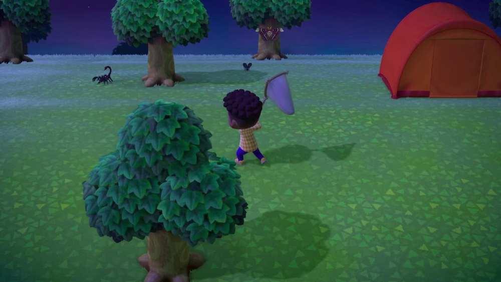 Tentativo di catturare uno scorpione su Animal Crossing: New Horizons