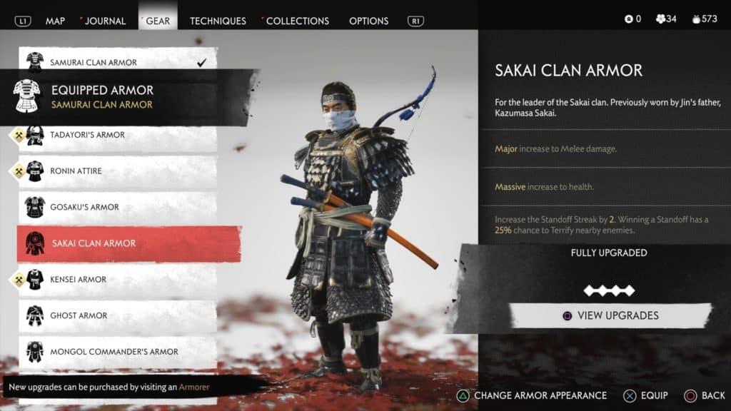 La schermata con Jin che indossa l'armatura del clan Sakai