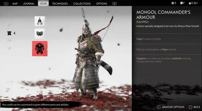 La schermata con Jin che indossa l'armatura del comandante mongolo
