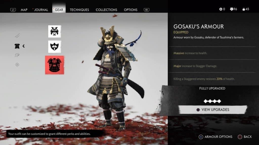 La schermata con Jin che indossa l'armatura Gosaku