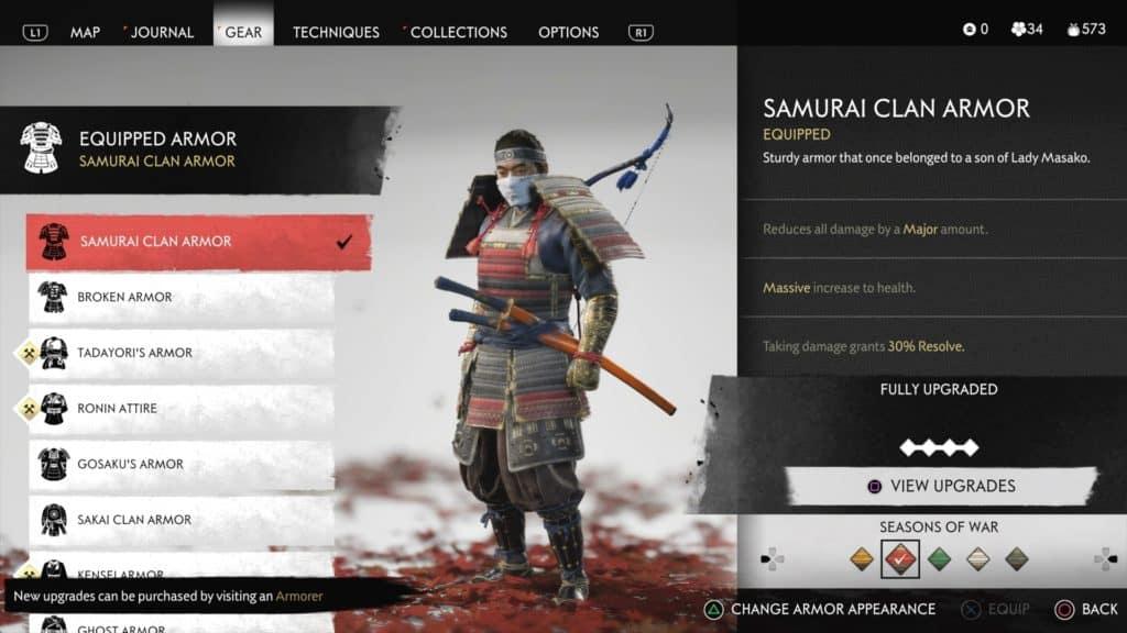 La schermata con Jin che indossa l'armatura del clan Samurai
