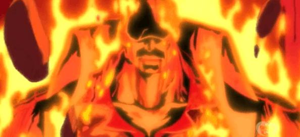 Akainu avvolto nel magma