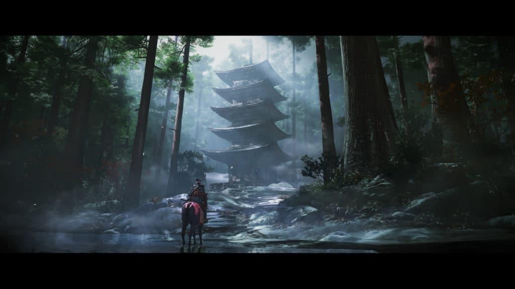Samurai a cavallo di fronte un edificio in stile giapponese