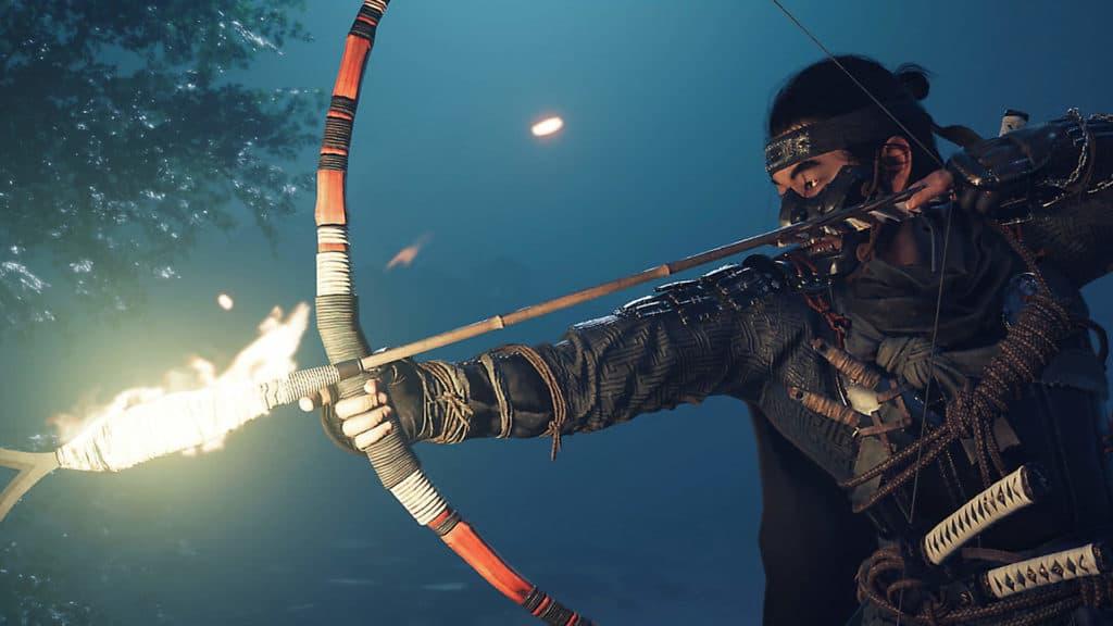 Jin incocca un arco con una freccia infuocata