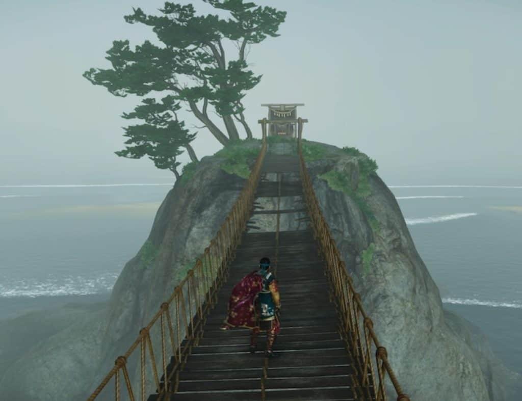 Jin sta scalando un monte per arrivare a un santuario Shinto