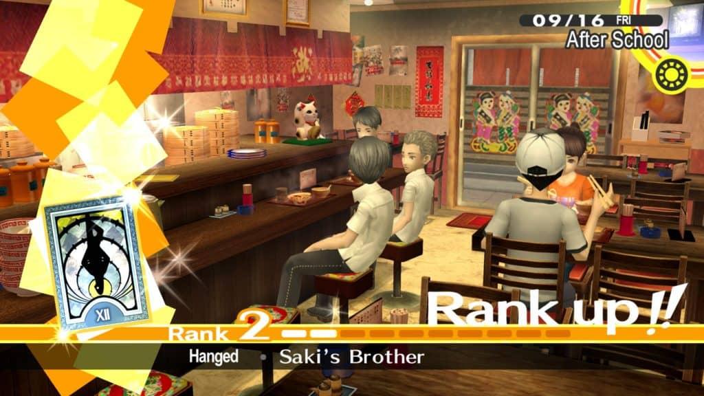 Rank up del Social Link di Naoki al ristorante