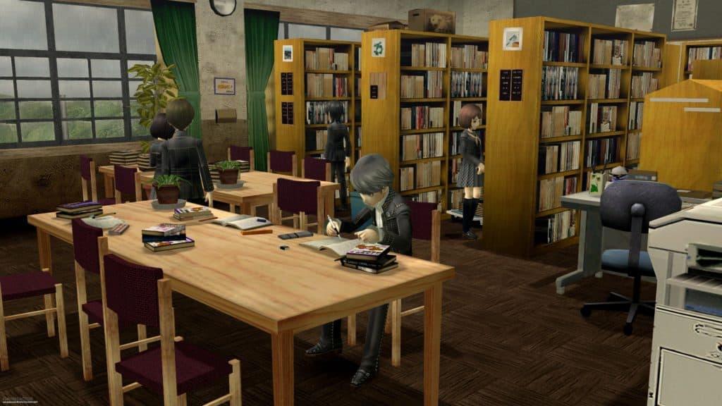 Yu che legge un libro nella biblioteca della Yasogami High