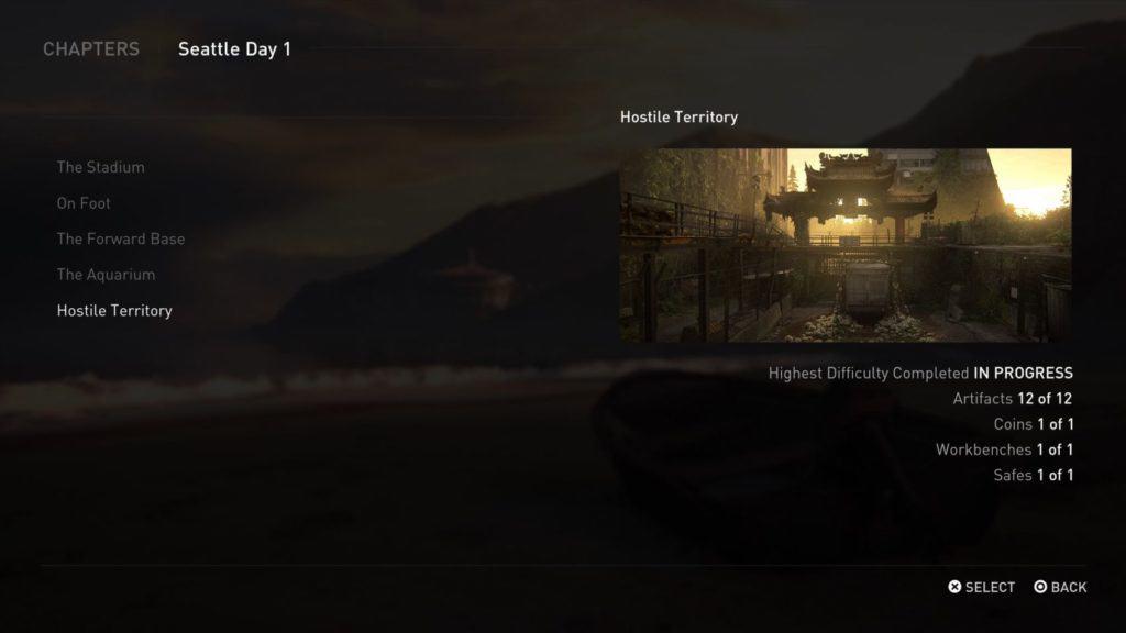 La selezione capitoli di The Last of Us 2