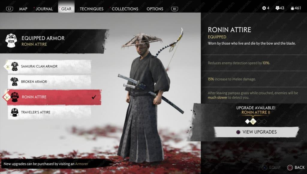La schermata con Jin che indossa l'uniforme Ronin