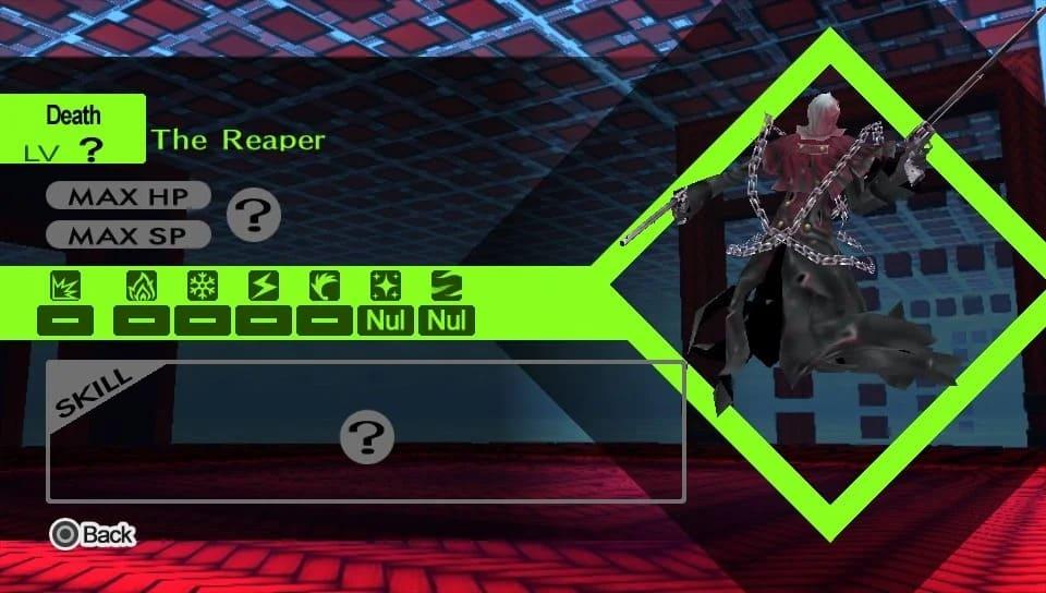 Schermata di debolezze e resistenze del Reaper