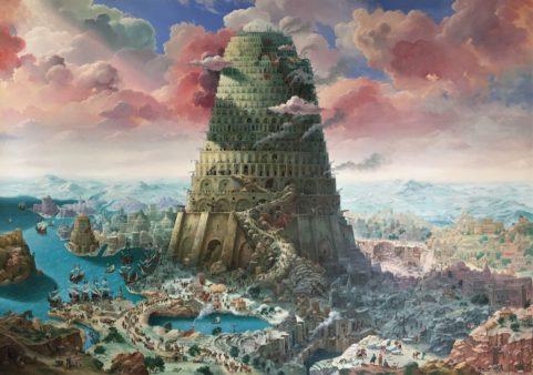 Un quadro rappresenta la torre di Babele che si erge in cielo