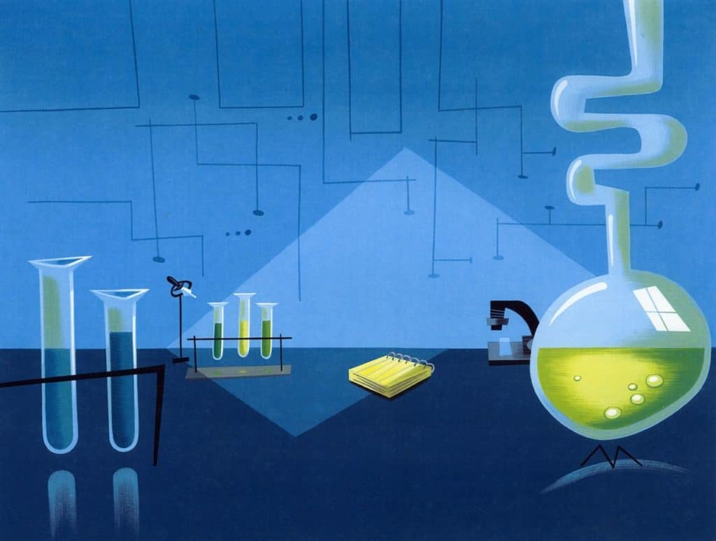 Una scena del laboratorio di Dexter, con diverse boccette piene di liquidi strani