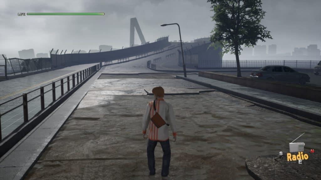 Il protagonista di Disaster Report 4 è in mezzo a un ponte allagato e distrutto dal terremoto