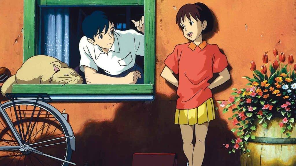 Il protagonista maschile di Whisper of The heart guarda la giovane Shizuku
