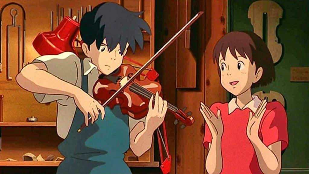 I due protagonisti suonano la canzone Country Roads in una scena di Whisper of the Heart