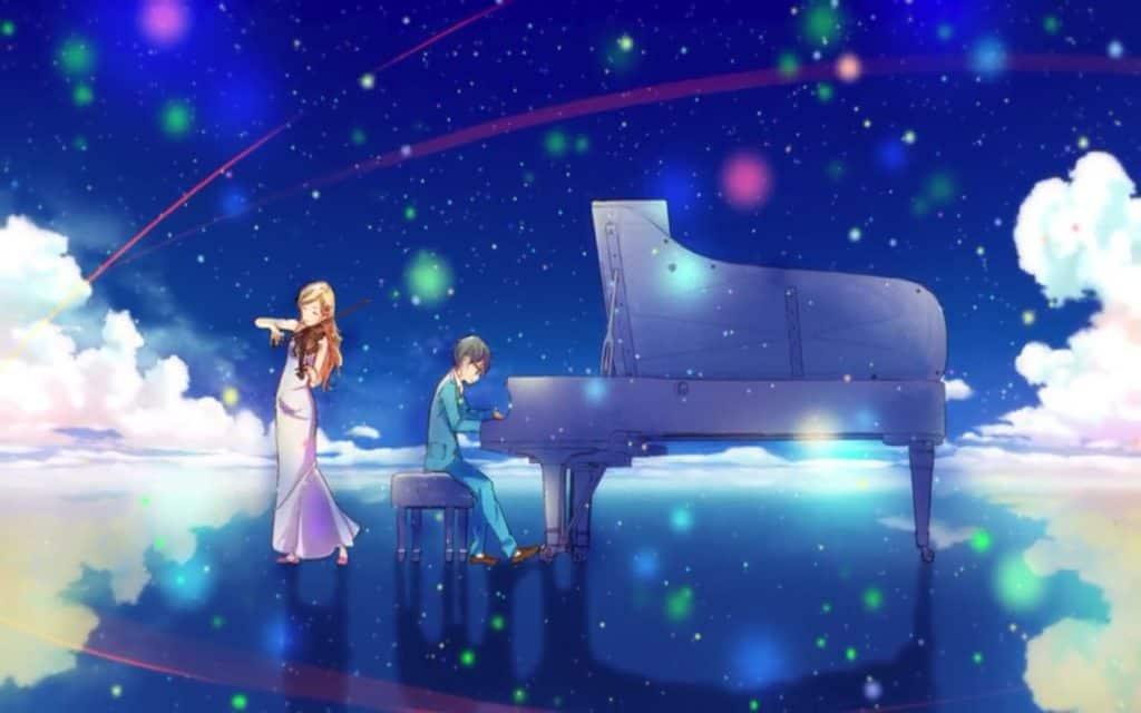 Kaori e Arima suonano il piano e il violino mentre sono sull'acqua e il cielo è limpido